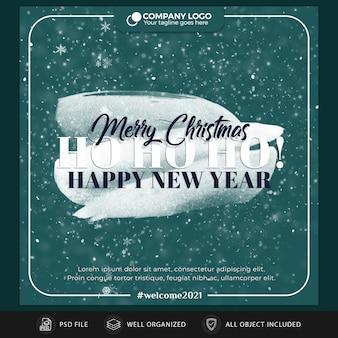 Modelo de cartão postal ou banner de natal no instagram