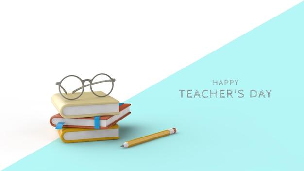 Modelo de cartão psd para o dia do professor 3d render livros, cadernos, lápis e óculos para professores