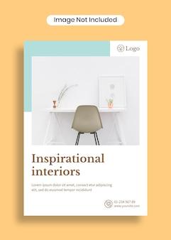 Modelo de cartaz a4 de interiores inspirados