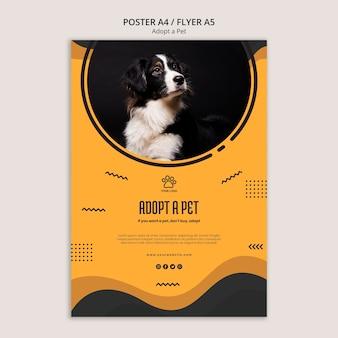 Modelo de cartaz - adote um animal de estimação do abrigo