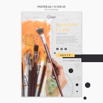 Modelo de cartaz - aulas de pintura para crianças e adultos