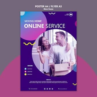 Modelo de cartaz - casa em movimento de serviço online