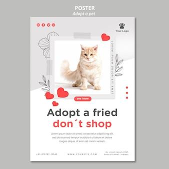 Modelo de cartaz com adotar design de animal de estimação