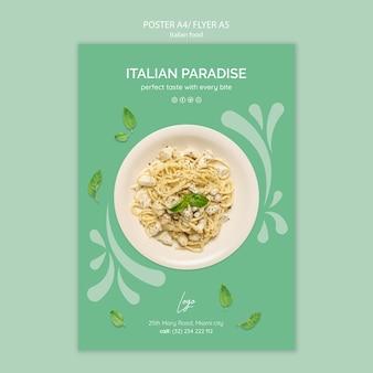 Modelo de cartaz com comida italiana