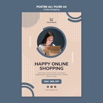 Modelo de cartaz com compras on-line