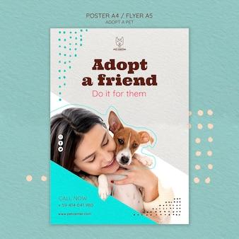 Modelo de cartaz com conceito de adoção de animais de estimação