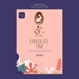 Modelo de cartaz com conceito de chocolate