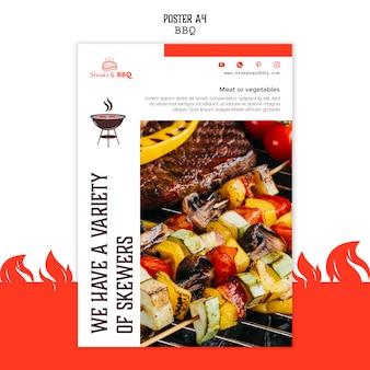 Modelo de cartaz com conceito de churrasco