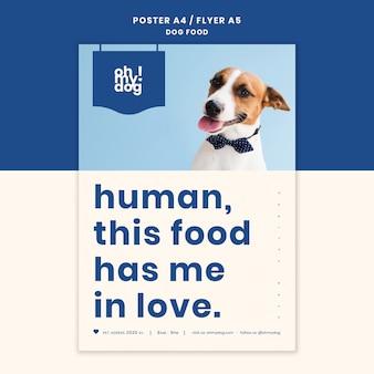 Modelo de cartaz com conceito de comida de cachorro