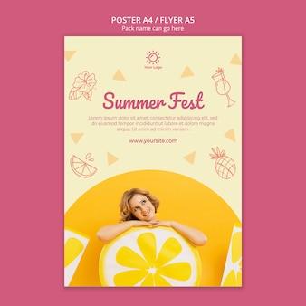 Modelo de cartaz com conceito de festa de verão