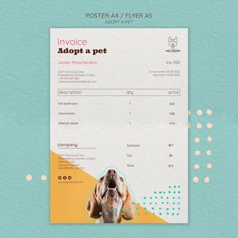 Modelo de cartaz com design de adoção de animais