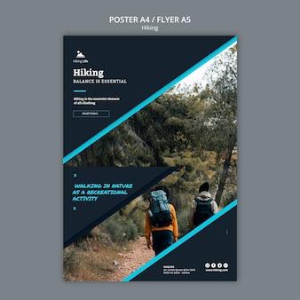 Modelo de cartaz com design de caminhadas