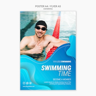 Modelo de cartaz com design de natação