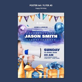 Modelo de cartaz com festa de aniversário