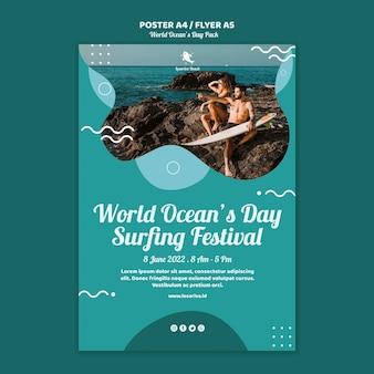 Modelo de cartaz com o conceito de dia mundial dos oceanos