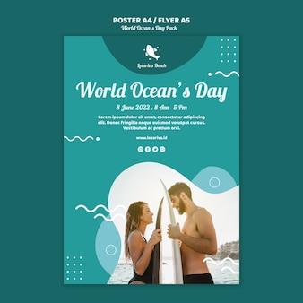 Modelo de cartaz com o dia mundial dos oceanos