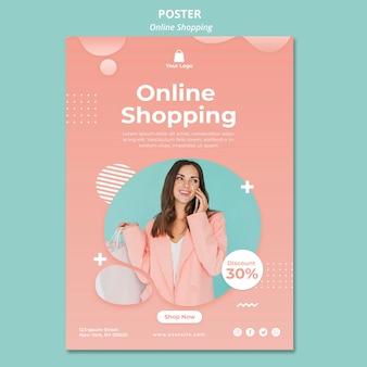 Modelo de cartaz com tema de compras on-line