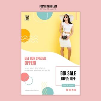 Modelo de cartaz com tema de compras online
