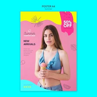 Modelo de cartaz com tema de venda de verão