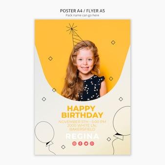 Modelo de cartaz com tema feliz aniversário
