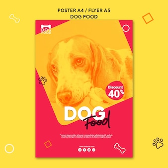 Modelo de cartaz - comida de cachorro filhote de cachorro bonito