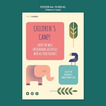 Modelo de cartaz - conceito de acampamento infantil