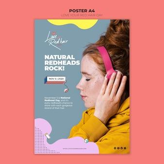 Modelo de cartaz - conceito de dia de cabelo vermelho