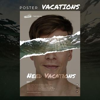 Modelo de cartaz - conceito de férias