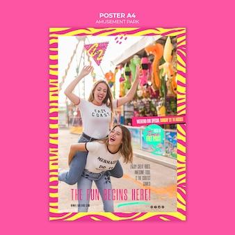 Modelo de cartaz - conceito de parque de diversões