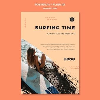 Modelo de cartaz - conceito de surf