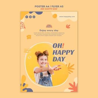 Modelo de cartaz conceito feliz dia