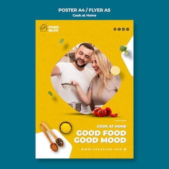 Modelo de cartaz - cozinhar em casa