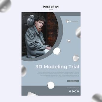 Modelo de cartaz - curso de modelagem 3d