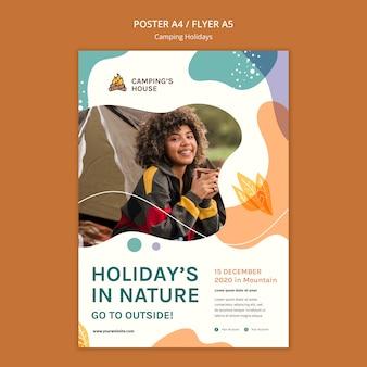 Modelo de cartaz de acampamento para férias