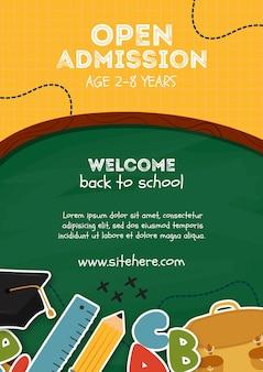 Modelo de cartaz de admissão aberta para crianças