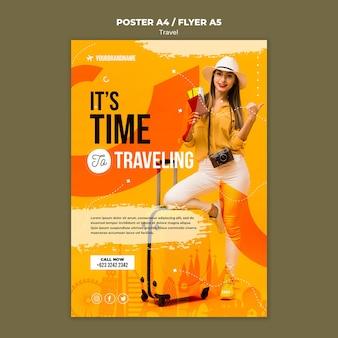 Modelo de cartaz de anúncio de agência de viagens