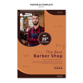 Modelo de cartaz de anúncio de barbearia