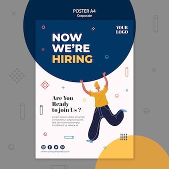 Modelo de cartaz de anúncio de contratação