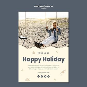 Modelo de cartaz de anúncio de férias