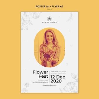Modelo de cartaz de anúncio de florista