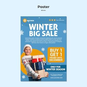 Modelo de cartaz de anúncio de inverno para a família