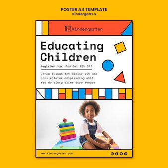 Modelo de cartaz de anúncio de jardim de infância