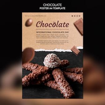 Modelo de cartaz de anúncio de loja de chocolates
