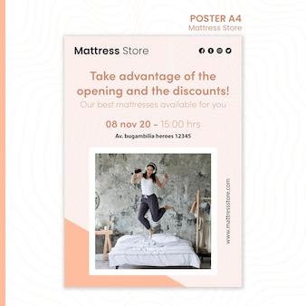 Modelo de cartaz de anúncio de loja de colchões