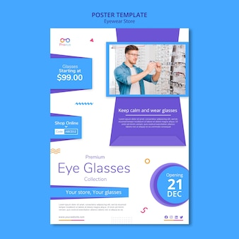 Modelo de cartaz de anúncio de loja de óculos