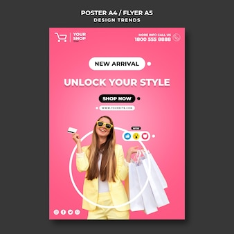 Modelo de cartaz de anúncio de mulher do shopping