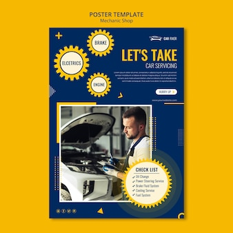 Modelo de cartaz de anúncio de oficina mecânica