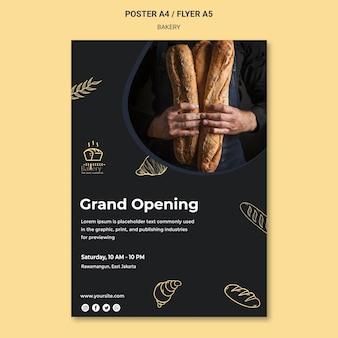 Modelo de cartaz de anúncio de padaria