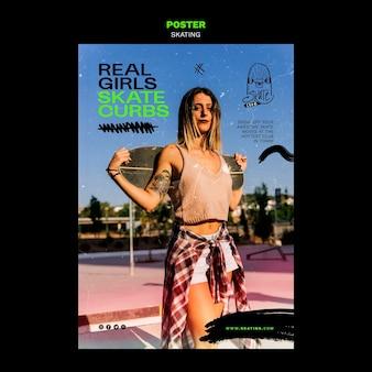 Modelo de cartaz de anúncio de patinação