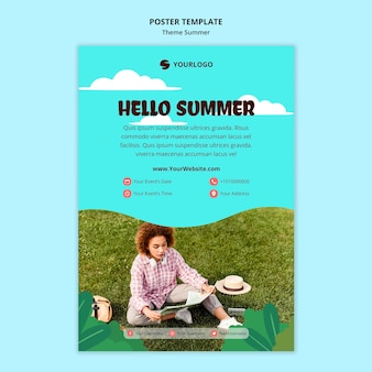 Modelo de cartaz de anúncio de viagens de verão